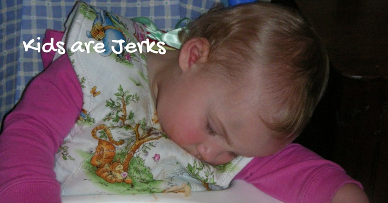 "Image of sleeping toddler with text ""Kids are Jerks"""