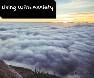 """Image of Clouds with text """"Living with Anxiety"""""""