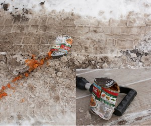 Image of a soup can run over by a car