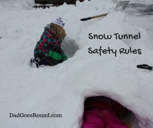 "Image of two kids digging a snow tunnel with text ""Snow Tunnel Safety Rules"""