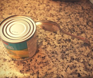 Image of a can and a spoon