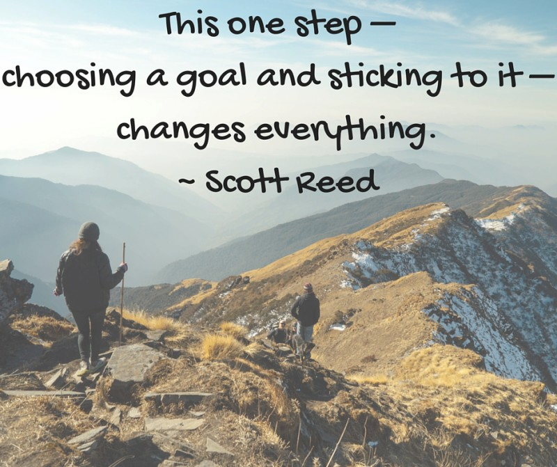 "Image of hikers on a mountain with quote ""This one step, choosing a goal and sticking to it, changes everything"" Scott Reed"