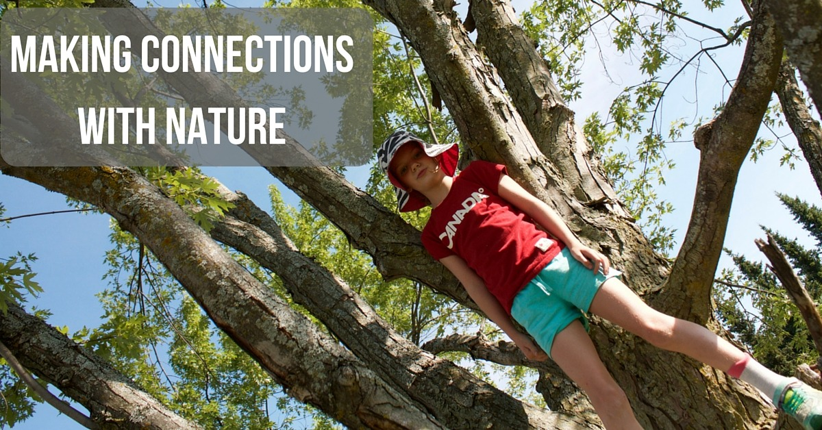 """image of a girl in a tree with the test """"Making Connections with Nature"""""""