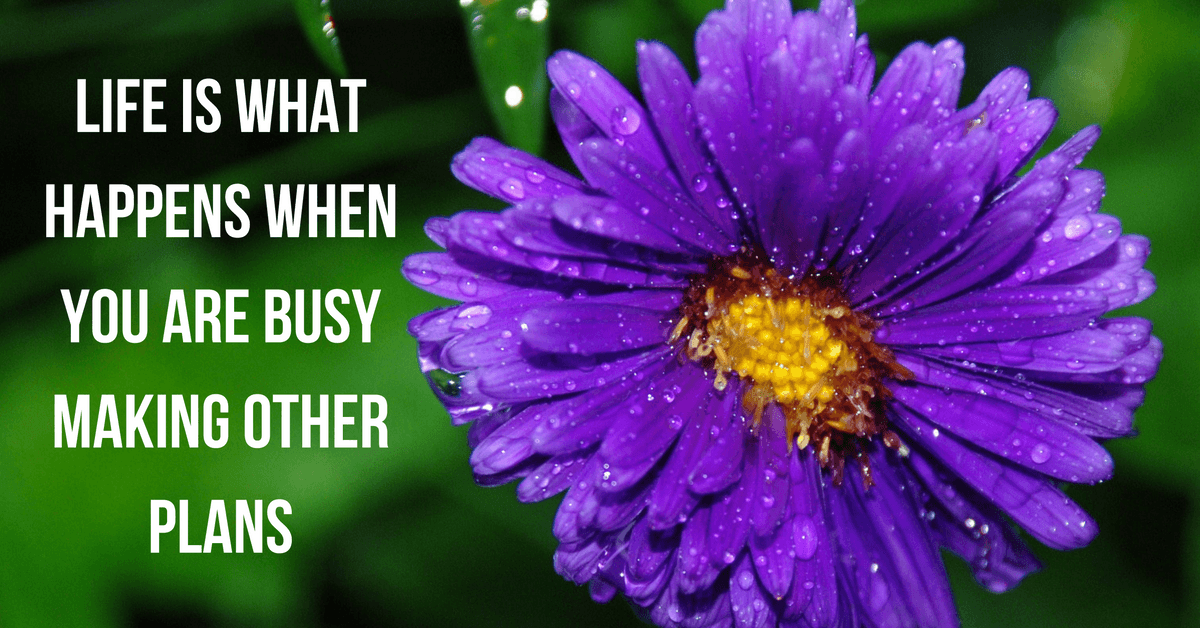 """Image of a flower with text """"Life is what happens when you are busy making other plans"""""""