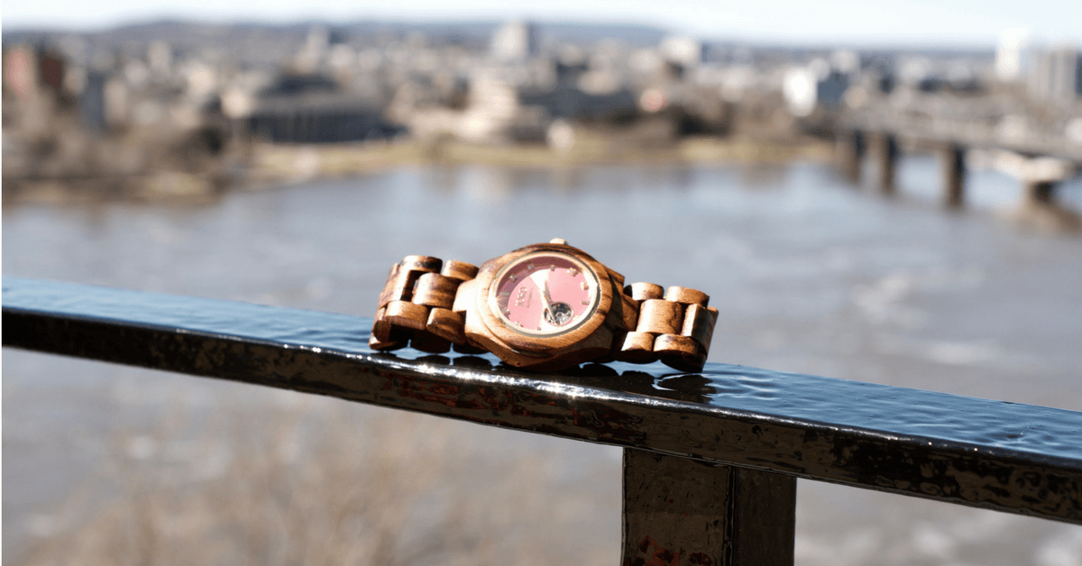 Image of a Jord Wood Watch with the Ottawa River in the background